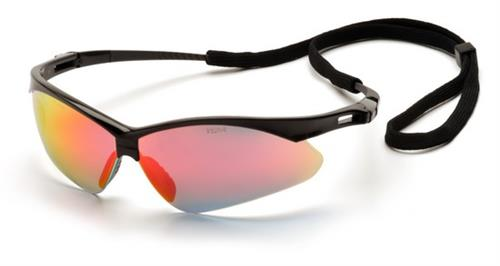 Pyramex SB6345SP Safety Glasses, PMXtreme Eyewear Ice Orange Mirror Lens with Black Frame & Cord, Qty: Box/12 prs