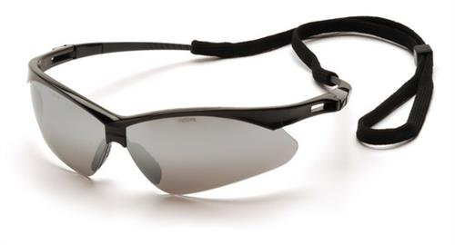 Pyramex SB6370SP Safety Glasses, PMXtreme Eyewear Silver Mirror Lens with Black Frame & Cord, Qty: Box/12 prs