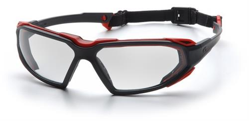 Pyramex SBR5010DT Safety Glasses, Highlander Eyewear Clear Anti-Fog Lens with Black/Red Frame, Qty: Box/12 prs