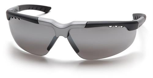 Pyramex SBS4870D Safety Glasses, Reatta Eyewear Silver Mirror Lens with Black/Silver Frame, Qty: Box/12 prs
