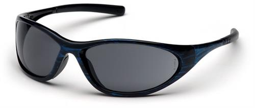Pyramex SBW3320E Safety Glasses, Zone II Eyewear Gray Lens with Blue Wood Frame, Qty: Box/12 prs