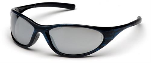 Pyramex SBW3370E Safety Glasses, Zone II Eyewear Silver Mirror Lens with Blue Wood Frame, Qty: Box/12 prs