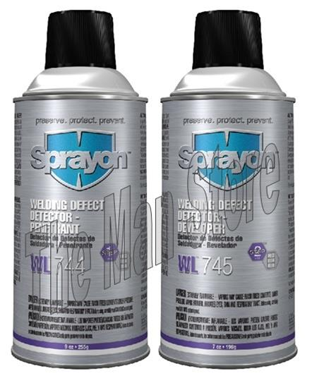 Sprayon S00744 & S00745 Welding Defect Detector- Penetrant & Developer, Two-Part Q. A. System WL 744 & WL 745 - S00744 Penetrant & S00745 Developer