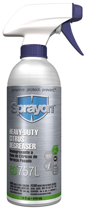 Sprayon S020757LQ Heavy Duty Citrus Degreaser CD757L 14 oz Cans, Case/12