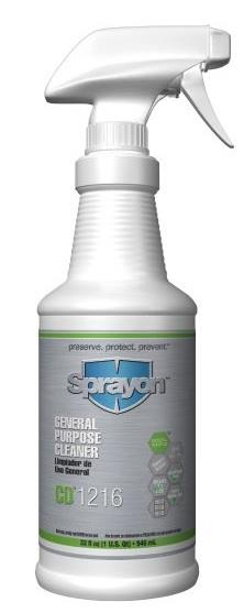 Sprayon CD1216 Multi-Surface Cleaner, S1216T1232, 32 oz Trigger Bottle, Case/12