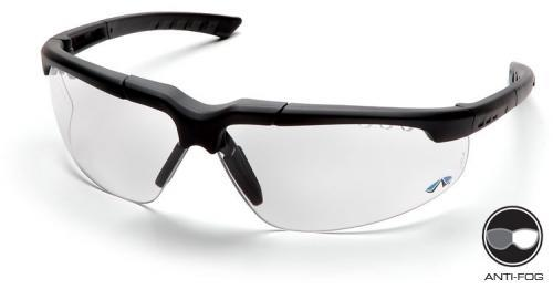 Pyramex SCH4810DT Safety Glasses, Reatta Eyewear Clear Anti-Fog Lens with Charcoal Frame, Qty: Box/12 prs