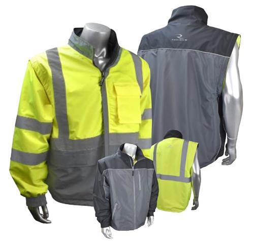 Radians SJ07-3ZDS Hi Vis Class 3 Reversible Windbreaker, Zip-Off Sleeves, Dual Color- Hi Vis Yellow & Grey