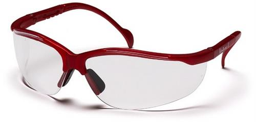 Pyramex SMM1810S Safety Glasses, Venture II Eyewear Clear Lens with Maroon Frame, Qty: Box/12 prs