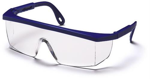 Pyramex SN410S Safety Glasses, Integra Eyewear Clear Lens with Blue Frame, Qty: Box/12 prs