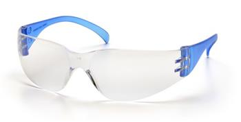 Pyramex SN4110S Safety Glasses, Intruder Eyewear Clear Lens with Blue Temples, Qty: Box/12 prs