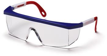 Pyramex SNWR410S Safety Glasses, Integra Eyewear Clear Lens with Red, White, and Blue Frame, Qty: Box/12 prs