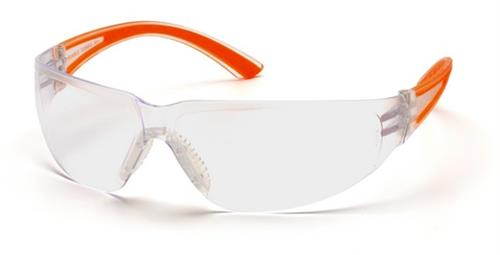 Pyramex SO3610S Safety Glasses, Cortez Eyewear Clear Lens with Orange Temples, Qty: Box/12 prs