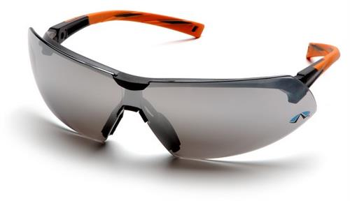 Pyramex SO4970S Safety Glasses, Onix Eyewear Silver Mirror Lens with Orange Frame, Qty: Box/12 prs