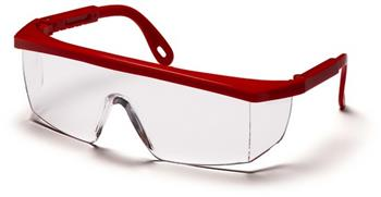 Pyramex SR410S Safety Glasses, Integra Eyewear Clear Lens with Red Frame, Qty: Box/12 prs