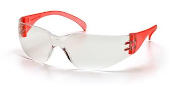 Pyramex SR4110S Safety Glasses, Intruder Eyewear Clear Lens with Red Temples, Qty: Box/12 prs