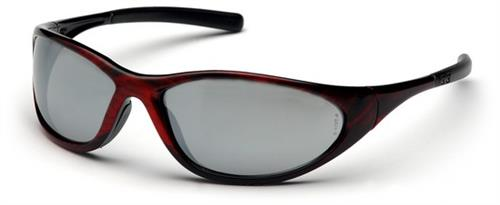 Pyramex SRW3370E Safety Glasses, Zone II Eyewear Silver Mirror Lens with Red Wood Frame, Qty: Box/12 prs