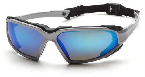 Pyramex SSB5065DT Safety Glasses, Highlander Eyewear Ice Blue Mirror Anti-Fog Lens with Silver/Black Frame, Qty: Box/12 prs