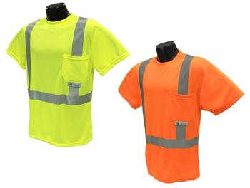 Radians ST11-2 Hi Vis Green or Orange Class 2 Short Sleeve Moisture Wicking T-Shirt