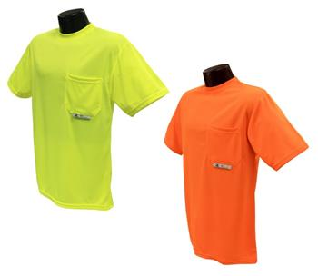 Radians ST11-N Hi Vis Green or Orange Non-Rated Short Sleeve Moisture Wicking T-Shirt