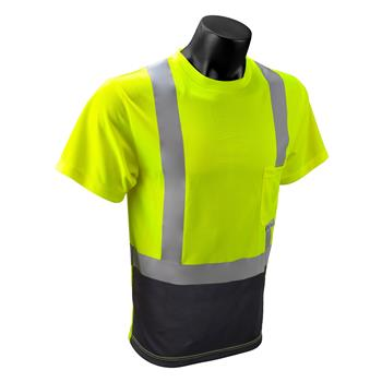 Radians ST11B-2PGS Hi Vis Green Class 2 Short Sleeve Moisture Wicking T-Shirt with Black Bottom