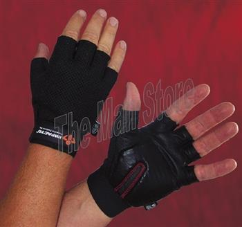 "IMPACTO ST8610 Half Finger Carpal Tunnel Glove, Nylon Mesh, Saddle Leather Palm with Patented Shock-Tek Technology & Viscolasâ""¢ VEP Padding"