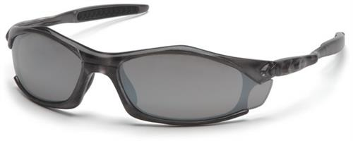 Pyramex STG4370D Safety Glasses, Solara Eyewear Silver Mirror Lens with Gray Frame, Qty: Box/12 prs