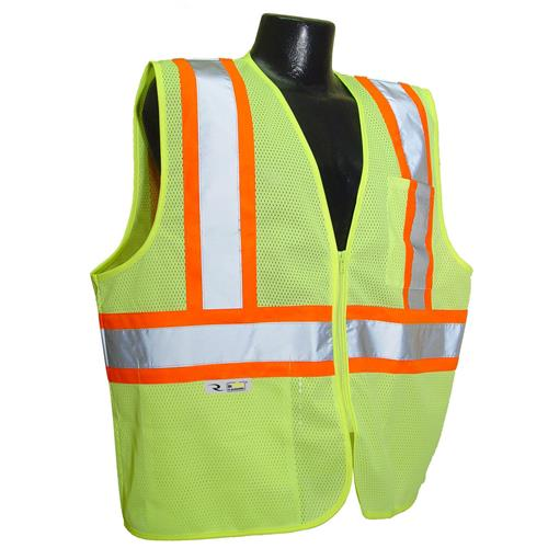 Radians SV225-2ZGM Class 2 Self Extinguishing Vest with Two-Tone Trim - Green