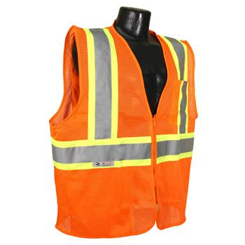 Radians SV225-2ZOM Class 2 Self Extinguishing Vest with Two-Tone Trim - Orange