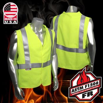 Radians SV92-2VGSFR Class 2 Fire Resistant Vest, Utility HRC1 Arc Rated, Made in USA, Solid Hi Vis Green
