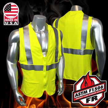 Radians FR Hi Vis Vest Class 2 Green Arc Rated, Comfortable Jersey Knit, Zipper, HRC2 SV92J-2ZGS3P Made in USA