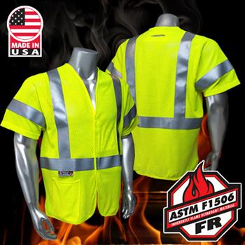 Radians FR Class 2 Fire Resistant Vest, Mesh with D-Ring Pass Thru, Utility HRC1 Arc Rated Vest SV97-3VGMFR, Made in USA
