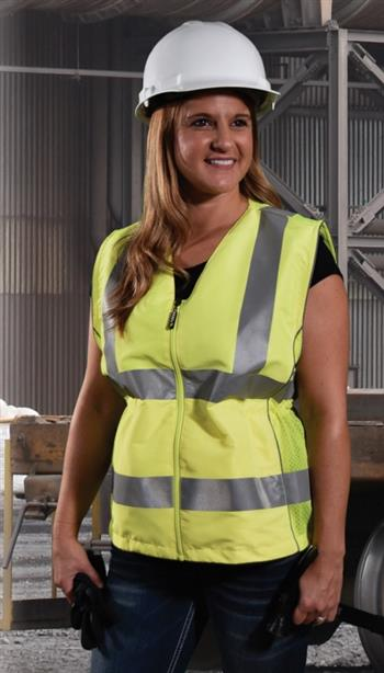 Radians SVL1-2ZGD Class 2 Type R Contoured Ladies Safety Vest, Zipper Closure, Adjustable Waist, Hi Vis Green
