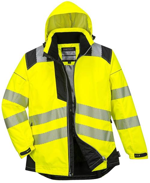 PortWest T400 PW3 Vision Hi Vis Rain Jacket, Class 3 Type R, Insulatex Heat Reflective Lining, Waterproof, Hi Vis Yellow