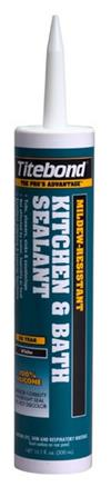 Titebond Kitchen & Bath Sealant, 10.1 Oz. Cartridge, Case/12, 3 Color Choices