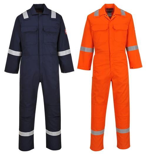 Portwest UBIZ5 Fire Resistant Coverall with Reflective Tape.  NFPA 2112 & NFPA 70E Navy & Orange
