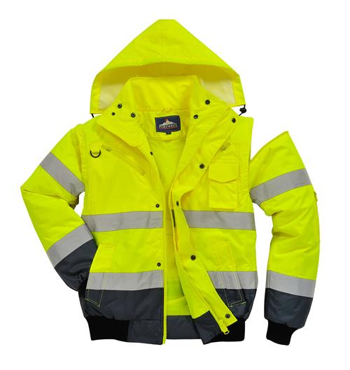 PortWest UC465 Hi Vis Yellow 3-in-1 Class 3 Contrast Bomber Jacket, Waterproof, Removable Sleeves, Fur Collar & Liner