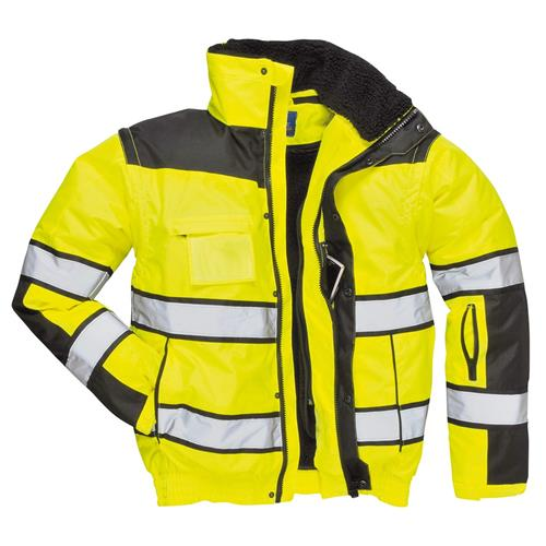 PortWest Hi Vis Green Class 3 Winter Bomber Jacket Waterproof 300 Denier Durable Shell with Removable Sleeves and Liner UC466