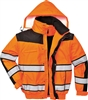 PortWest Hi Vis Yellow Class 3 Winter Bomber Jacket Waterproof 300 Denier Durable Shell with Removable Sleeves and Liner UC466