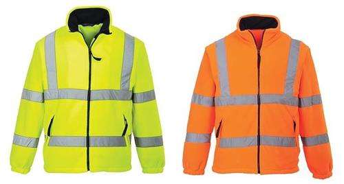 Portwest UF300 Class 3 Hi Vis Yellow or Orange Full Zip Fleece Sweatshirt / Jacket