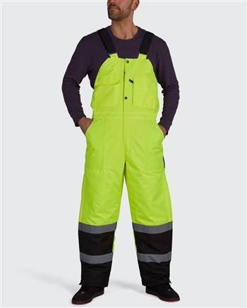 Utility Pro UHV500 Hi Vis Yellow Class E Insulated Waterproof Bib with Black Bottom and Side Zippers