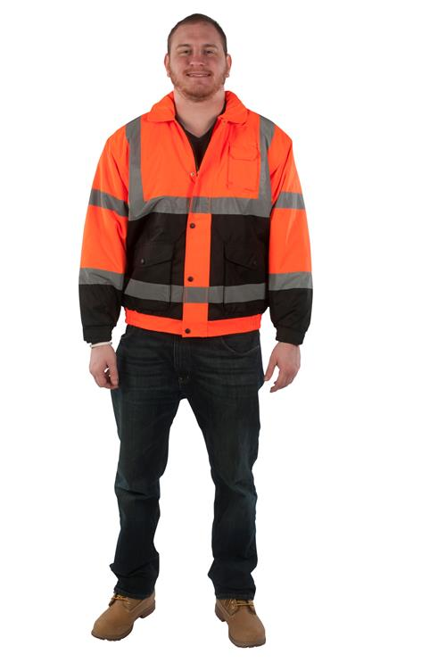 Utility Pro Wear UHV562-OB Stain-Resistant ANSI Class 3 Hi Vis Bomber Nylon Quilted Liner