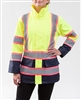 Utility Pro UHV825 Women's Class 2 Rain Jacket, Lime & Navy with Pink Trimmed Reflective Striping