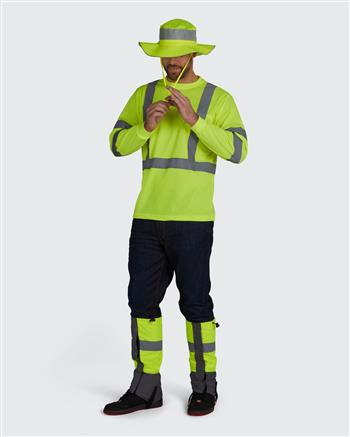 PERIMETER Insect Guard Series- Leg Gaiters shown with matching Hi Vis T-Shirt & Bucket Hat