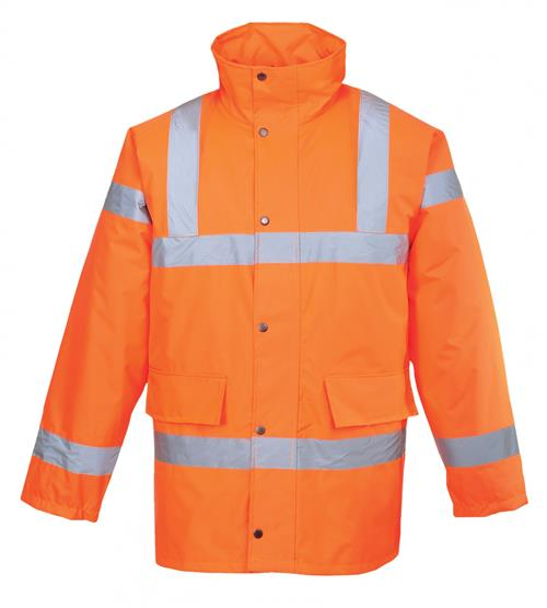 PortWest URT30 Hi Vis Orange Class 3 Lined Traffic Jacket Waterproof Shell