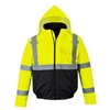 PortWest US363 Hi Vis Class 3 Type R Value Bomber Jacket, Waterproof, Hi Vis Yellow/ Black Bottom