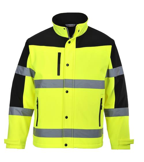 PortWest US429 Hi Vis Two Tone Softshell Jacket, Triple Layer System- Breathable, Wind & Water Resistant, Hi Vis Yellow/ Black