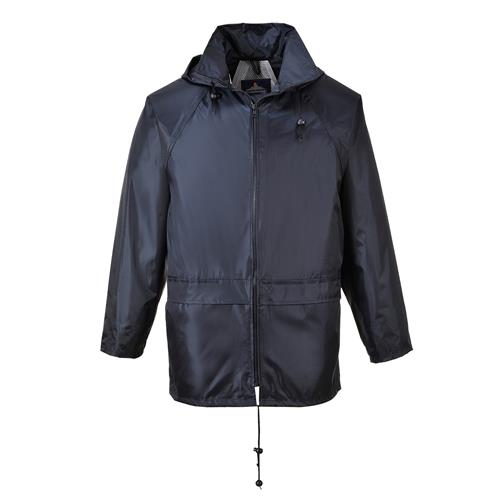 PortWest US440NAR Classic Waterproof Rain Jacket, Sealed Seams, Pack Away Hood, Navy