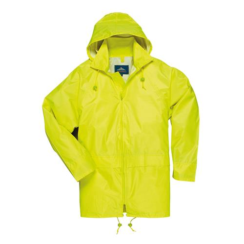 PortWest US440YER Classic Waterproof Rain Jacket, Sealed Seams, Pack Away Hood, Yellow