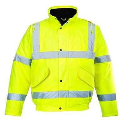 PortWest US463 Hi Vis Green Class 3 Winter Bomber Waterproof 300 Denier Durable Waterproof Shell, Warm Wadding Liner