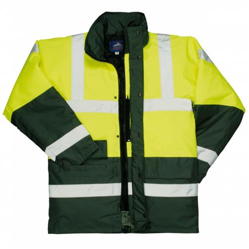 PortWest US466 Hi Vis Class 3 Winter Parka, Hi Vis Yellow with Green Bottom, Waterproof 300 Denier Durable Shell with Stitched-in Quilted Liner